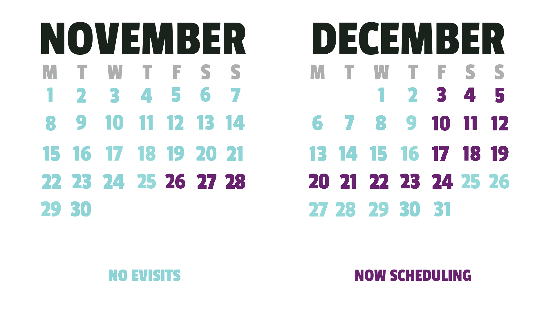 Calendar of availability to have a Virtual Visit with Santa Claus.