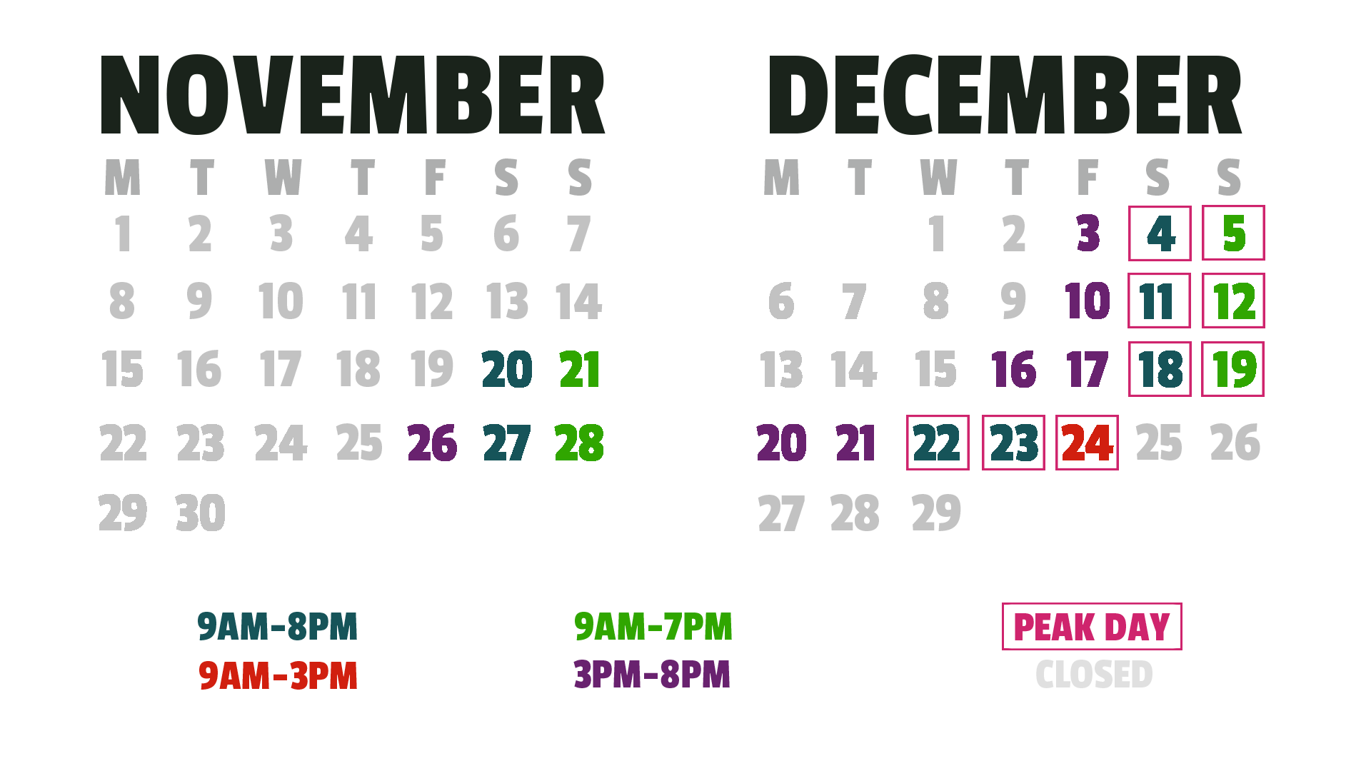 Calendar of availability to see Santa Claus at Mr. Kringle's Inventionasium Experience in Cleveland