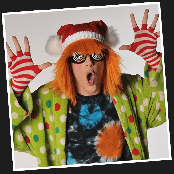 Orangelo the Christmas elf at Mr. Kringle's Inventionasium Experience