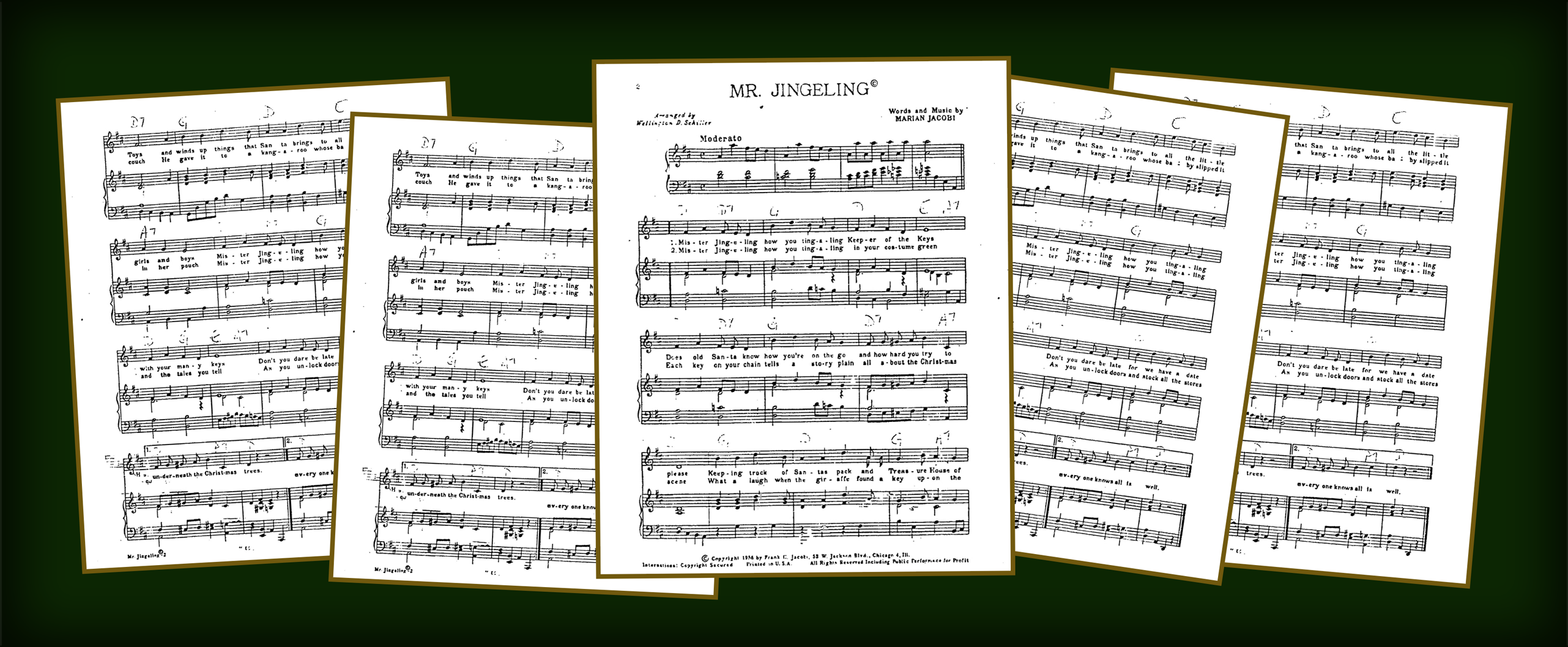 Photos of Music and Lyrics of the original Mr. Jingeling Song.