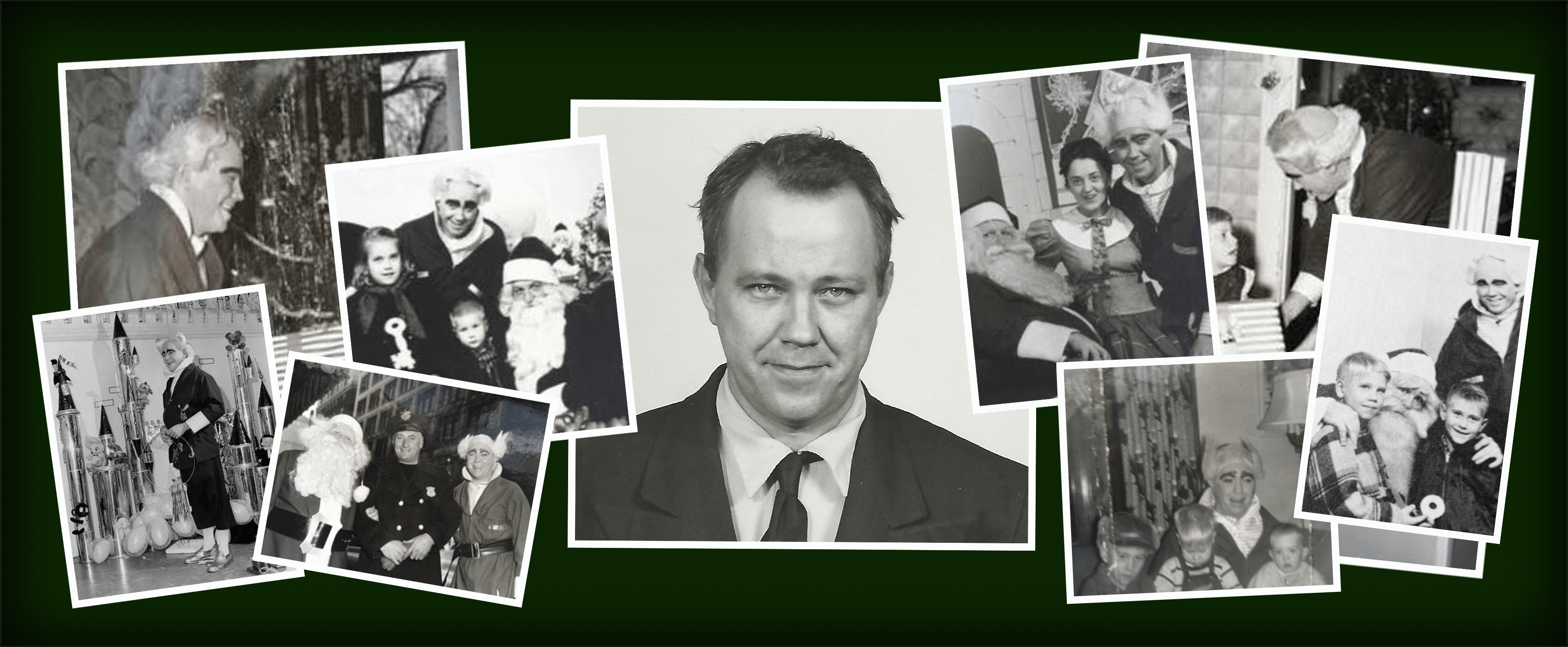 Photos of the first Mr. Jingeling, Thomas V. Moviel in Cleveland, Ohio.