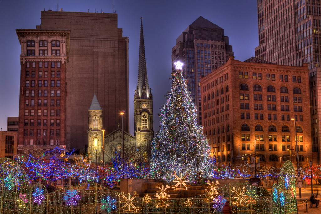 Downtown Cleveland lit up during the holiday season