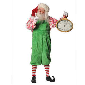 Kris Kringle holding a clock at Mr. Kringle's Inventionasium Experience