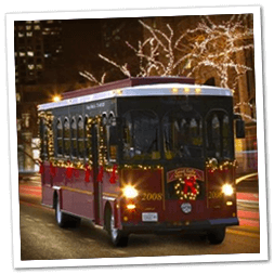 Cleveland's Holiday Lights Trolley Tours through Cleveland drives past Mr. Kringle's Inventionasium Experience