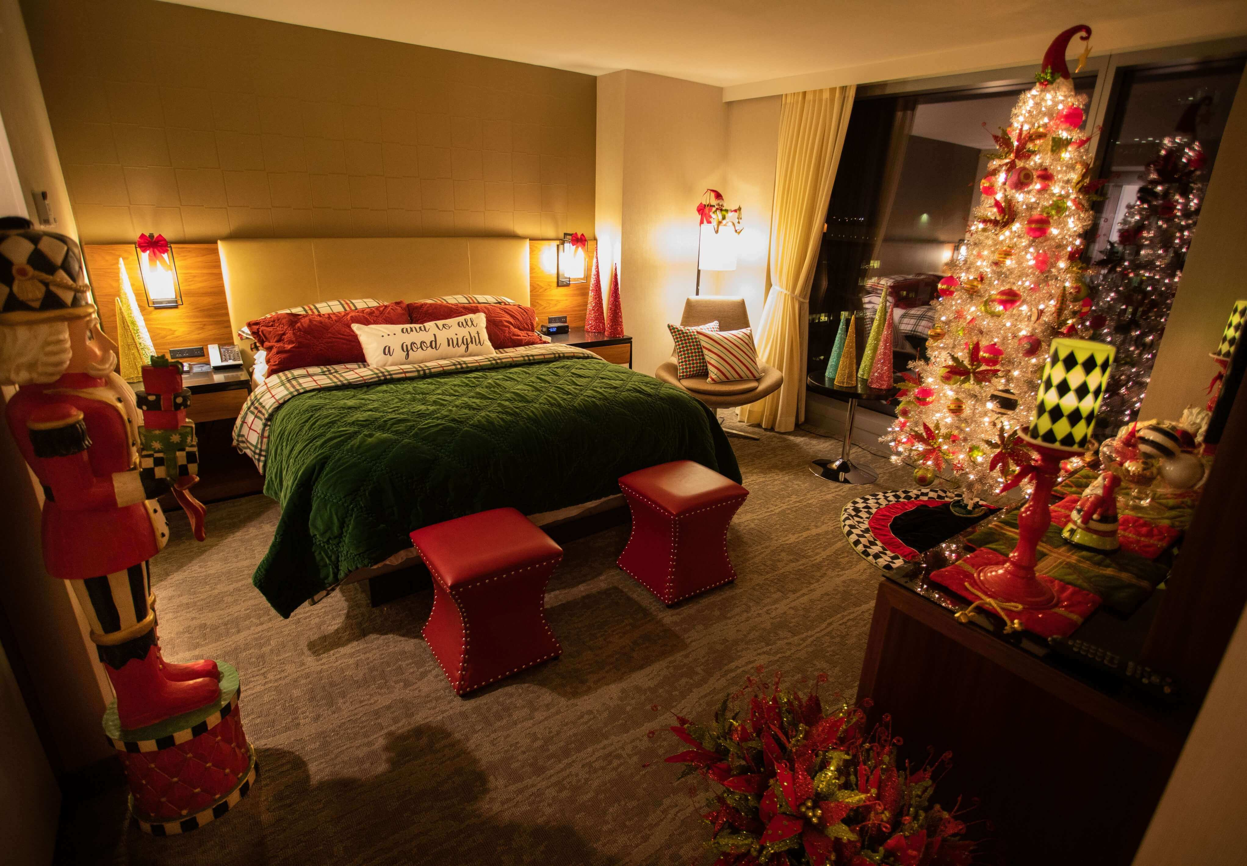 Enjoy a festive sleep, when you spend the night in the Mr. Kringle Suite at the Hilton Cleveland Downtown.